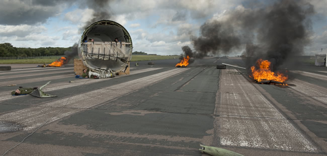 Exercise Astral Bend - flames on runway
